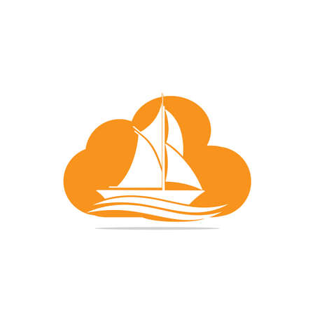 Yacht cloud shape design. Yachting club or yacht sport team vector design. Marine travel adventure or yachting championship or sailing trip tournament.