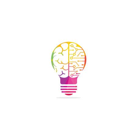 Bulb and brain symbol or icon design.