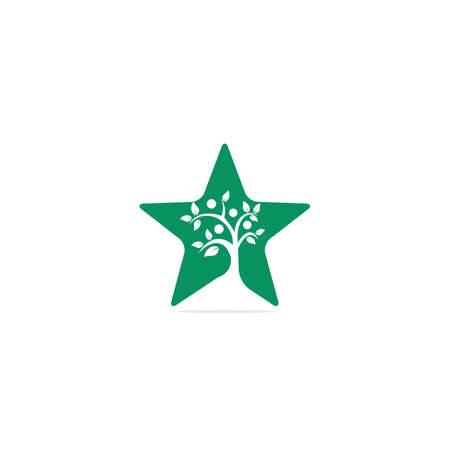 Human Tree and star symbol or icon design.