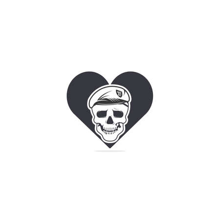 Skull in soldier helmet with heart shape vector symbol or icon design.