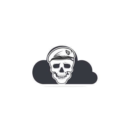 Skull in soldier helmet with cloud shape vector symbol or icon design.