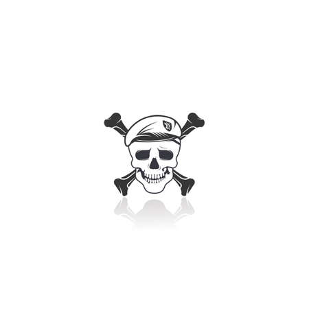 Human skull with two crossed bones vector symbol or icon design.