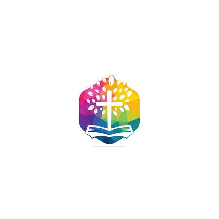 Bible Cross Tree Church Logo Design. Vectores