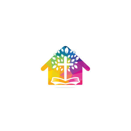 Abstract home and tree religious cross symbol icon vector design.
