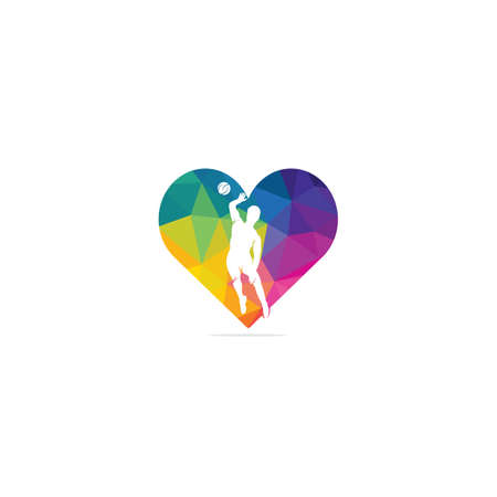 Volleyball player heart shape vector logo design. 向量圖像