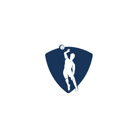 Abstract volleyball player jumping vector logo design.