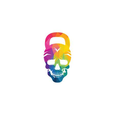 Skull Fitness vector logo design. Modern professional train hard sport template logo design.