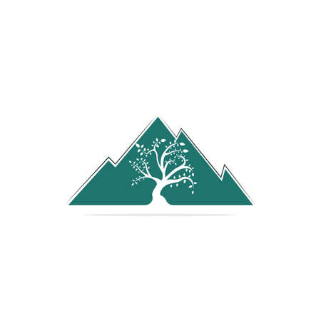 Mountain and tree vector logo design. Logo for travel, farming and ecology concepts.