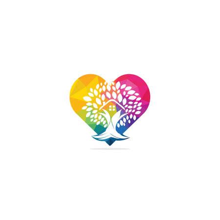 Tree house heart shape logo design. Eco house logo design.