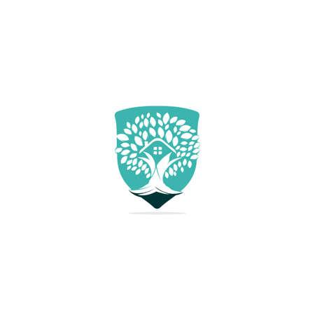 Tree house logo design. Eco House vector design template.