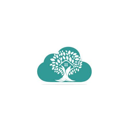 Cloud Tree House Logo Design. Eco House Vector Logo Design.