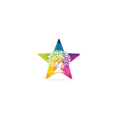 Tree house star shape logo design. Eco house logo design. 向量圖像