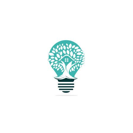 Tree house bulb logo design. Eco House Vector illustration.