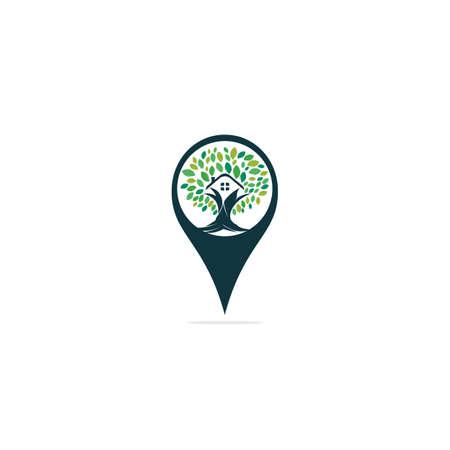 Tree House Pointer Vector Logo Design.