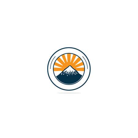 Mountain Logo Design Template. Mountains with sun logo round shape.