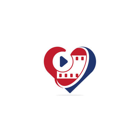 Love movie heart cinema film creative simple logo template vector illustration. Heart film logo design.