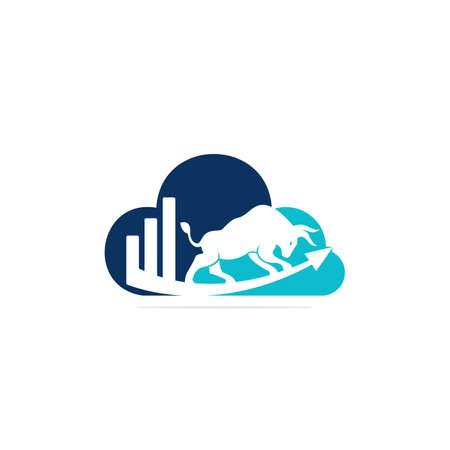 Financial bull logo design. Trade Bull Chart, finance logo. Economy finance chart bar business productivity logo icon. 向量圖像