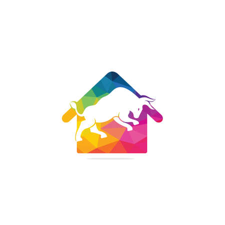 Bull house vector logo design. Simple animal and house vector logo design template.