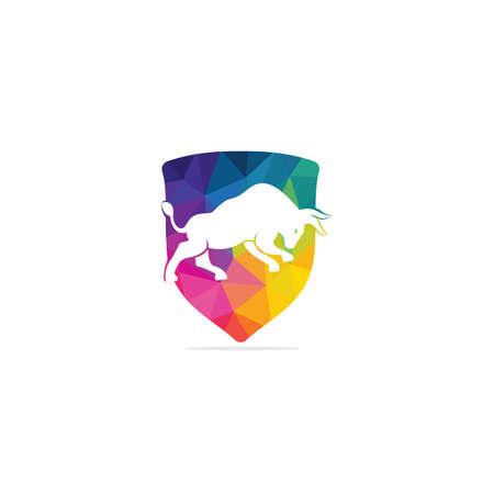 Bull vector logo design. Simple animal vector logo design template.
