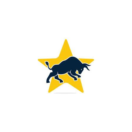 Bull star shape vector logo design. Simple animal vector logo design template. 向量圖像