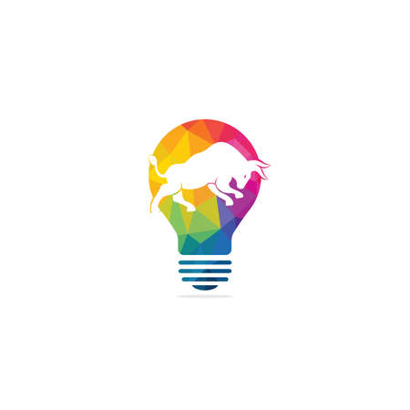 Smart bull vector logo design. Bull with bulb icon vector logo. 向量圖像