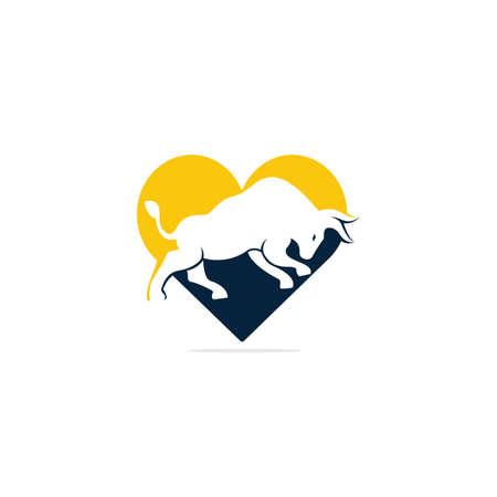 Bull heart shape vector logo design. Simple animal vector logo design template.