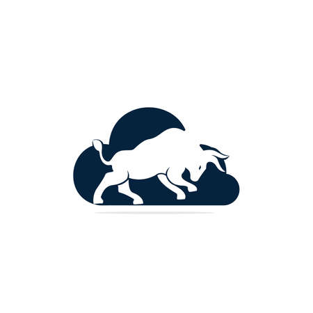 Bull cloud shape vector logo design. Simple animal vector logo design template.