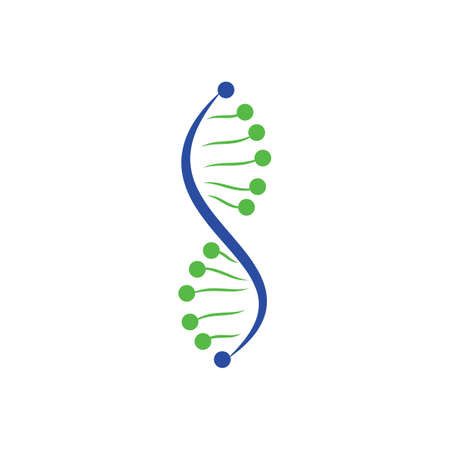 Science genetics vector logo design. Genetic analysis, research biotech code DNA. Biotechnology genome chromosome.