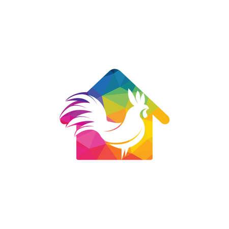 Rooster home vector logo design.