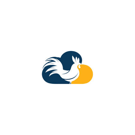 Rooster and cloud vector logo design.
