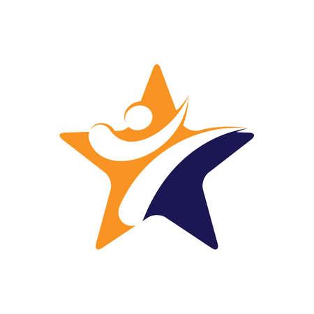 Star Karate Sports Vector Logo Design. Martial art logo concept.