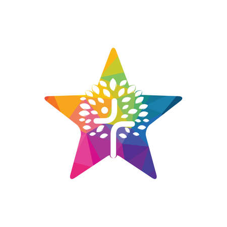 Abstract star and tree religious cross symbol icon vector design.