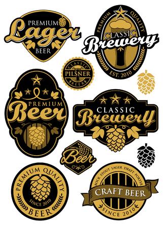 古典的なビール醸造所のラベル  イラスト・ベクター素材