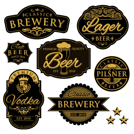 cerveza negra: Etiquetas Brewery Vintage Vectores