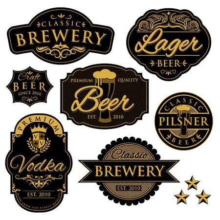 Vintage Brewery Labels Vectores