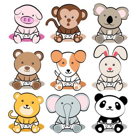 koala bear: Animal Babies Illustration