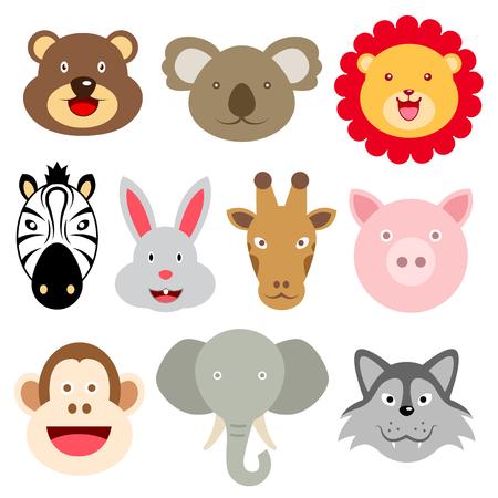 Cute animals Head Illustrations Vectores