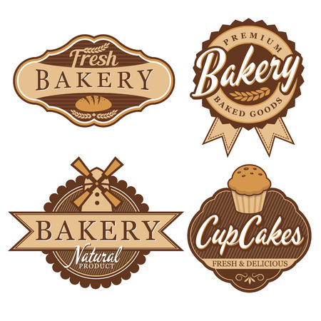 badge vector: Bakery Badge and Labels Illustration