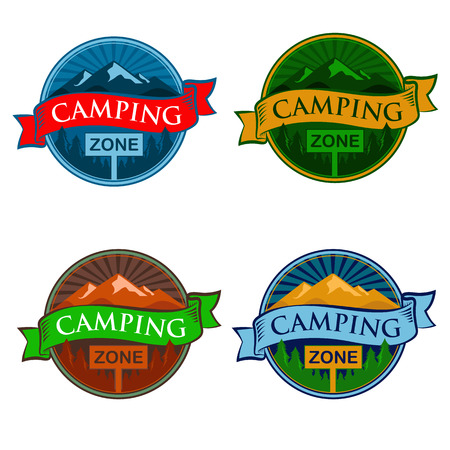 badge vector: Camping Zone Sign Illustration