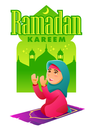 Muslim Woman praying and scene with mosque in the background. Ramadan Kareem Vectores