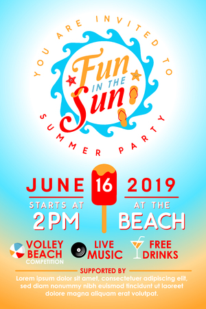 Summer Party Invitation  イラスト・ベクター素材