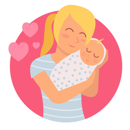 Young mother hugging her baby with care and love while he sleeps Vectores