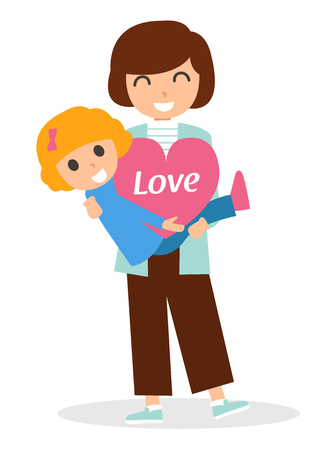 Mother hugging her lovely daughter, Vector character illustration 矢量图像