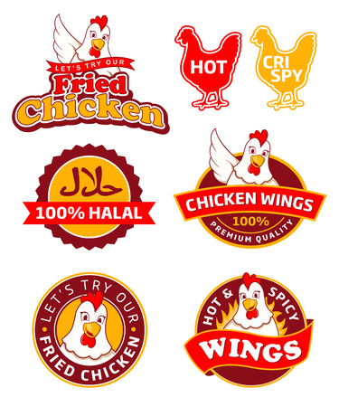 Fried Chicken Labels Vectores
