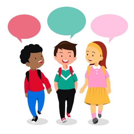 Kids in conversation Vectores