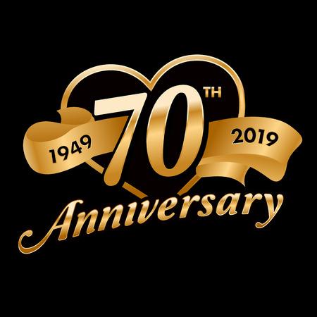 70th Anniversary Symbol  イラスト・ベクター素材