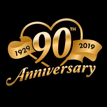90th Anniversary Symbol  イラスト・ベクター素材