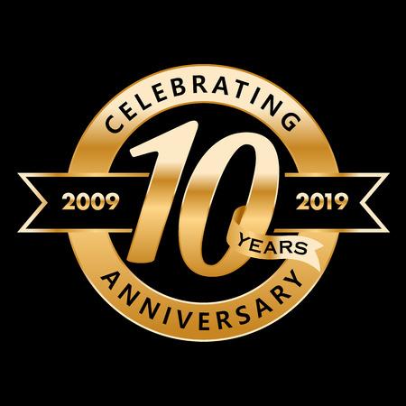 Celebrating 10th Years Anniversary  イラスト・ベクター素材