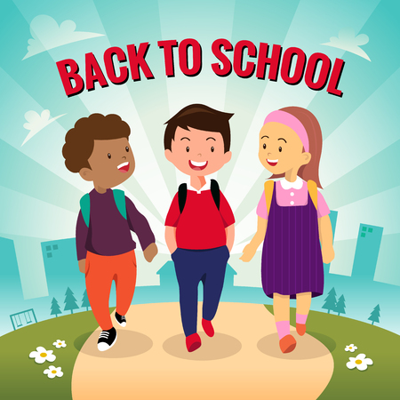 Illustration of students going to school together Vectores