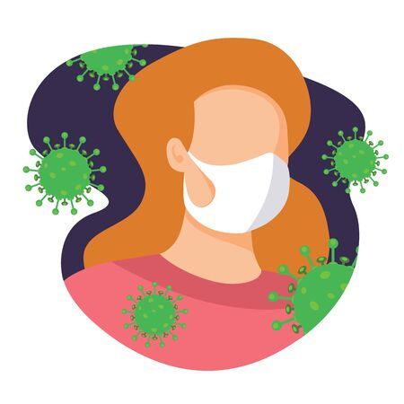 Woman wear mask to protect from virus